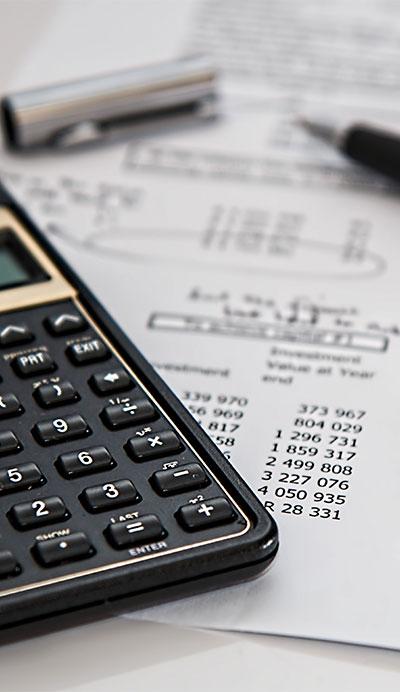 calculator and receipt