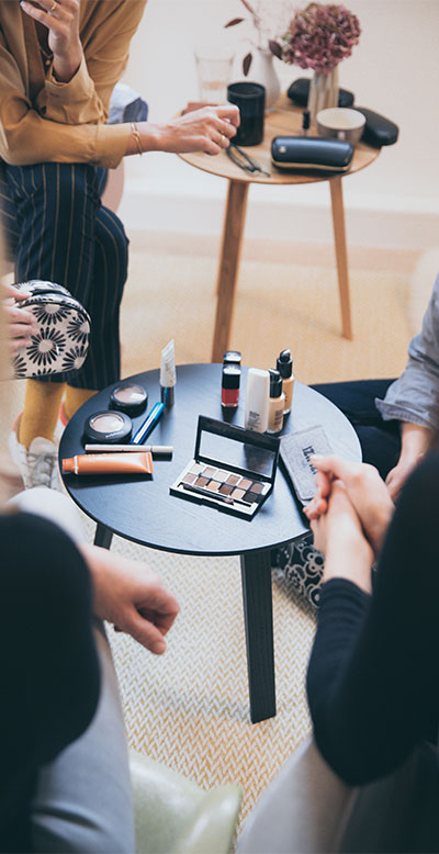 makeup on a table