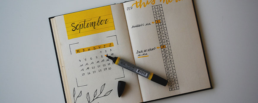a diary open at the month of September