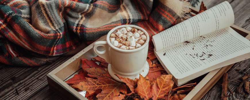 hot drink and book on tray